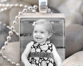Custom Photo Scrabble Tile Pendant Necklace