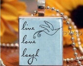 Blue Live Love Laugh Dove Scrabble Tile Necklace S5-16