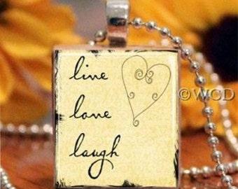 Yellow Live Love Laugh Heart Scrabble Tile Necklace S5-22