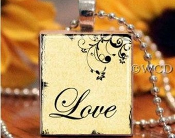 Love Yellow Foliage Scrabble Tile Necklace S5-19