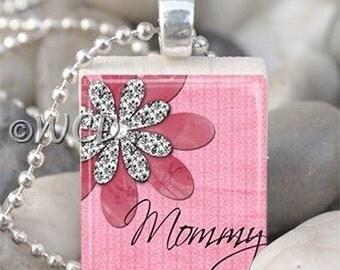 Pink Mommy Flower Scrabble Tile Necklace S34-1