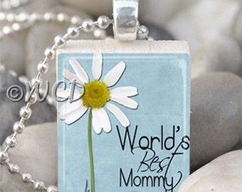 Blue World's Best Mommy Daisy Scrabble Tile Necklace S34-8