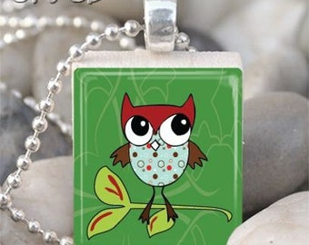 Brown, Blue and Polka Dots Whimsical Owl Scrabble Tile Necklace S48-5