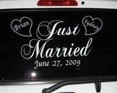 Custom Wedding Car Vinyl Decal Sticker Just Married w/Date