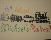 All Aboard Personalized Train Vinyl Wall Decal