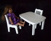 Handcrafted furniture for American Girl - kitchen table w/ 2 chairs - painted