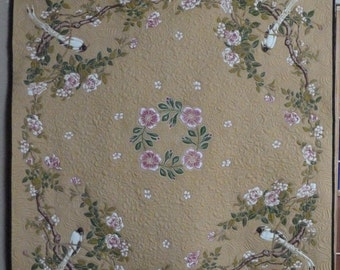 Tan with Bird heirloom quilted vintage tablecloth