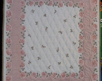 Mauve Roses Quilted Vintage Tablecloth