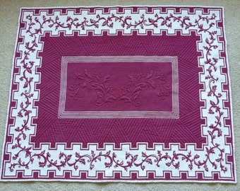 Burgundy and White quilted vintage tablecloth