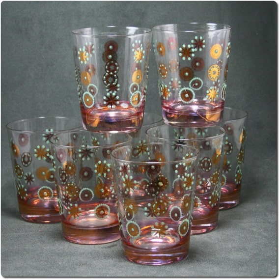 RESERVED Set of Eight Mid Century Atomic Design Drinking Glasses