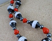 Ultra Chic Black White and Red Recycled Necklace