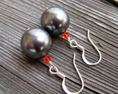 Gray and Orange Swarovski Pearl and Crystal Earrings