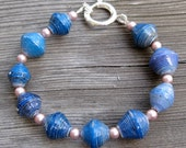 Blue Paper Bead Bracelet