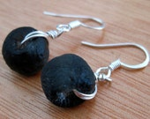 Dark Gray Recycled Glass Earrings