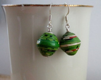 Big Green Recycled Paper Earrings