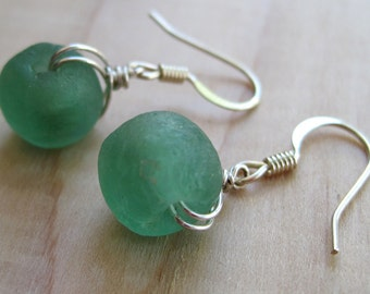 Pale Green Recycled Glass Earrings