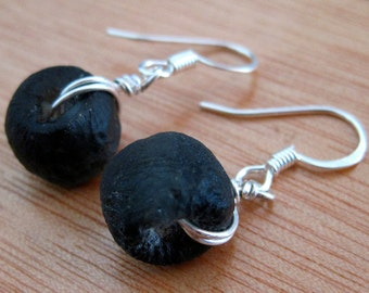 Dark Gray Recycled Glass Earrings