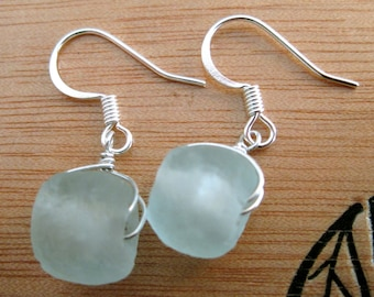 Recycled Glass Earrings, Palest Blue