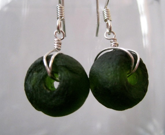 Deep Olive Green Recycled Glass Earrings Eco Friendly Fair Trade