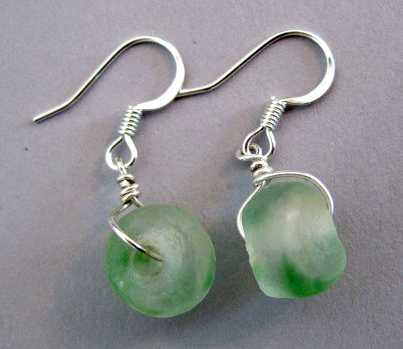 Green and White Recycled Glass Earrings