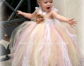 Champagne Dusty Rose Flower Girl Tutu Dress, Vintage Style style and New Look, 12 months to 2 Toddler