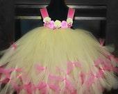 Pink Yellow Petti Tutu Dress, Pageant, Tutu Dress, Flower Girls Tutu Dress 2 Toddler to 4 Toddler
