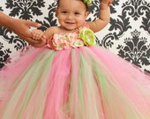 Tutu Dress, Flower Girl Dress, Pink Lime Green 12 Months to 2 Toddler