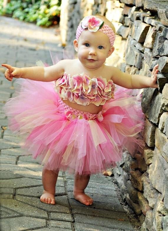 Pink Yellow  Hydrangea Tutu Skirt Set Newborn to 2 Toddler