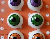 3 Pairs of  Plastic Eyeballs- Purple, Green & Orange