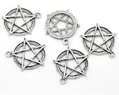 10 Large Antique Silver Pentagram Charms