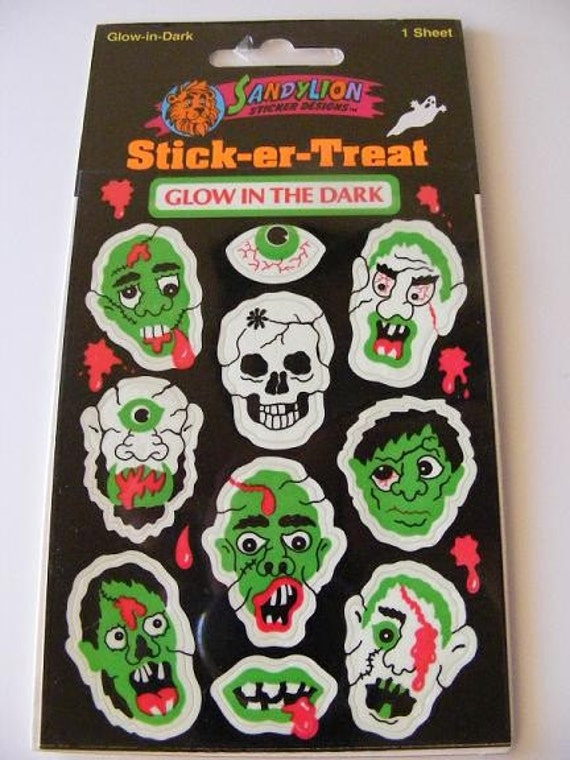 Vintage Glow in the Dark Sandylion Zombie Monster stickers