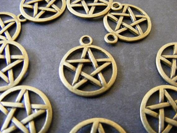 10 Bronze Pentagram Charms