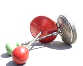 Vintage Food Chopper, Metal and Wood Finding, Green and Red Wood Knobs