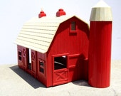 Vintage Plasticville Barn, Vintage Barn and Silo, Mid Century Collectible, 1950s