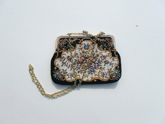 Vintage Handbag, Vintage Tapestry Purse, Floral Tapestry Purse, Small Vintage Handbag, Evening Purse