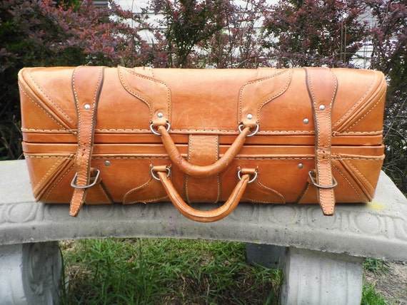 Vintage Leather Suitcase, Leather Suitcase, 1930s, Vintage Luggage