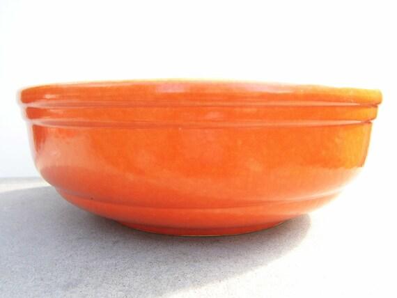 Vintage Bright Orange Bowl, Mid Century Kitchen, Large Serving Bowl, Fruit Bowl
