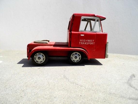 Vintage Metal Truck, Red Metal Truck, Tin Truck, Mid Century Toy