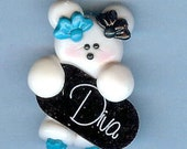 DIVA GIRL Bear Polymer Clay Beads and Bow Centers, Hair Bow Center, Bracelet Charm, Necklace Charm, Pendant, Charm