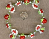 Bunnies Holding Strawberries Polymer Clay Beads and Bow Centers, Jewelry, Charm, Pendant, Hair Bow Center