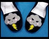 Sz 5 Angry Storm Clouds Mary Jane Shoes - Size 5 Kawaii