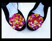 Sz 6 Tropical Fruit Punch Mary Jane Shoes - Size 6 Kawaii Flower Shoes Anime pink, yellow and orange
