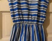 80s Blue White Black Stripe Jumper with Shorts Eber Sz M RETRO