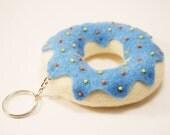 Donut key ring - Blue felt