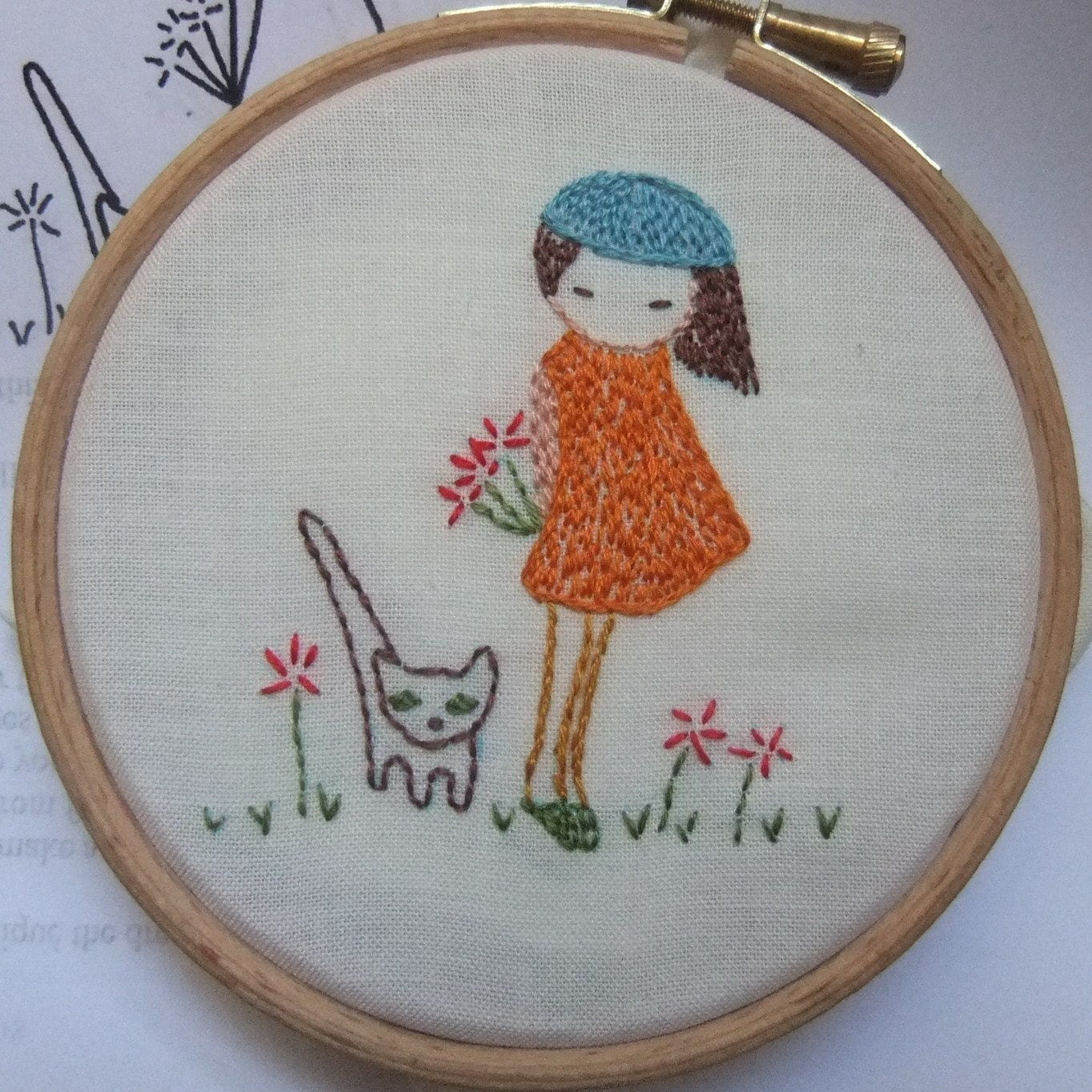 Shy girl hand embroidery pattern pdf by lilipopo on etsy
