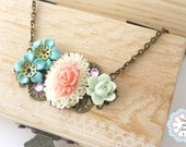 Turquoise Green Flower Cluster Charm Necklace