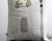 Dog Cushion with appliqued  and embroidered design