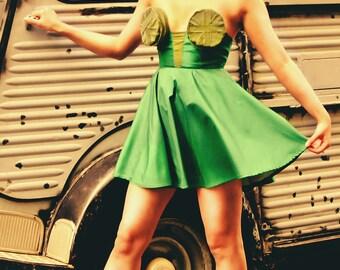 Playful Geometric Green Couture Dress
