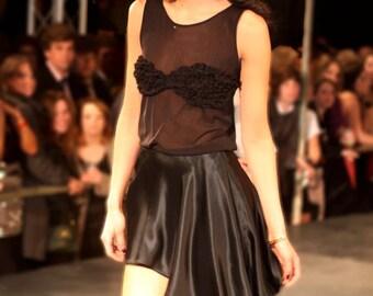 Sheer Ruffled Little Black Dress Set