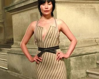 Avant Garde Zipper Beige Couture Dress